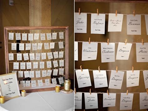 Wedding seating chart, hanging name tags, find name and