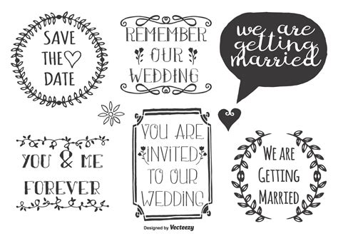 Cute Wedding Doodle Labels - Download Free Vector Art