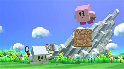 Check out Kirby's blocky Steve power-up in action