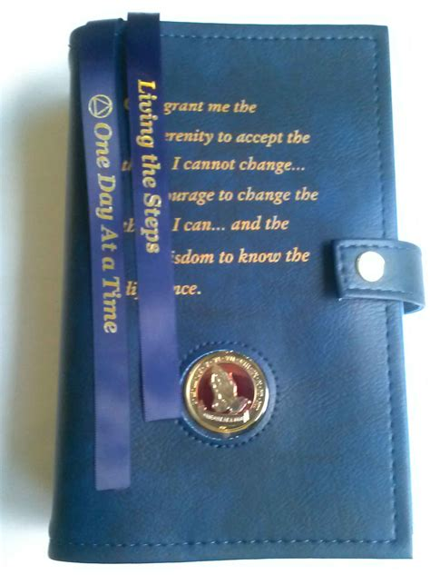 AA Double Book Cover Serenity Prayer - BLUE