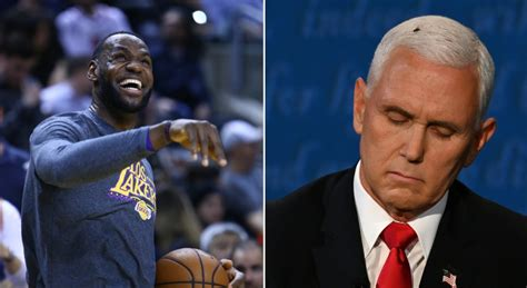 LeBron James reacts to fly on Mike Pence's head during VP