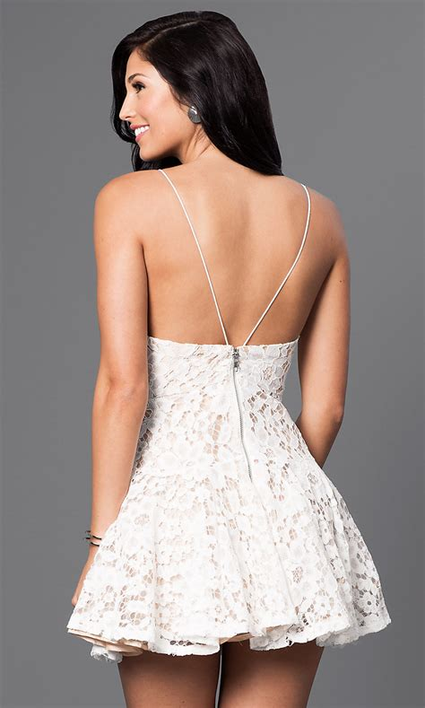 Lace Party Dress with Spaghetti Straps - PromGirl