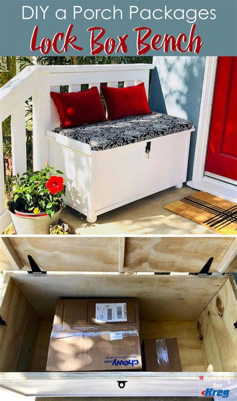 DIY a Porch Packages Lock Box Bench - a perfect way to