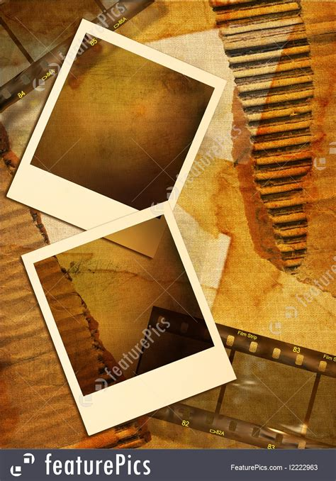 Collage: Old Background With Polaroid Frames - Stock