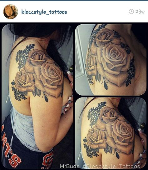 Beautiful roses, with lace! Shoulder tattoo! | Rose