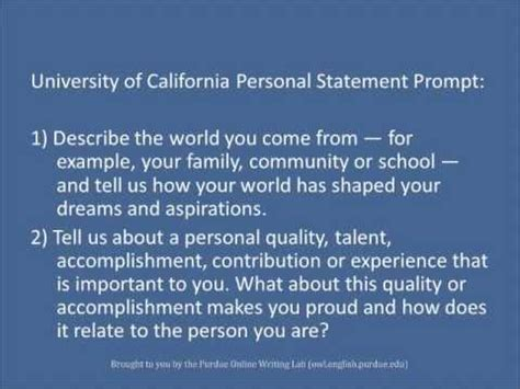 Purdue OWL: Personal Statements - YouTube