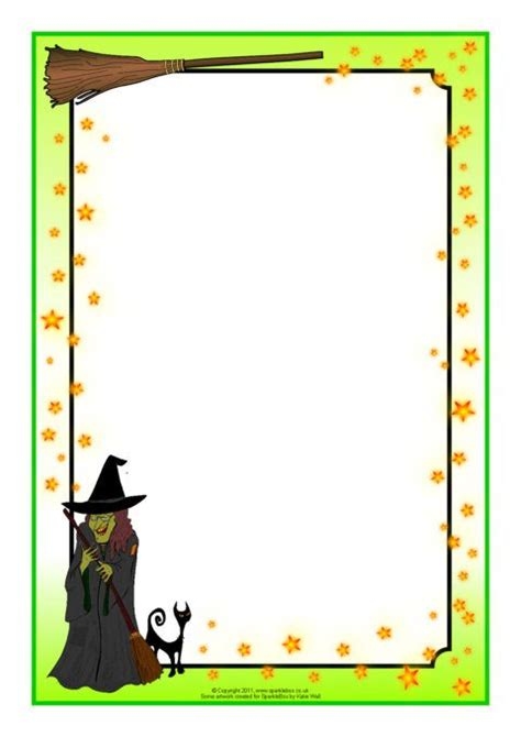 SB4325 Witch and Wizard-Themed A4 Page Borders | Halloween