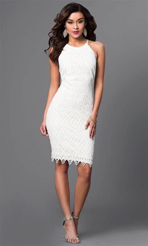 Knee-Length White Lace Dress - PromGirl